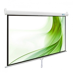 100-Inch Great Quality Manual Pull Down Projector Screen With Budget Friendly Price For Home or Business Presentaioin